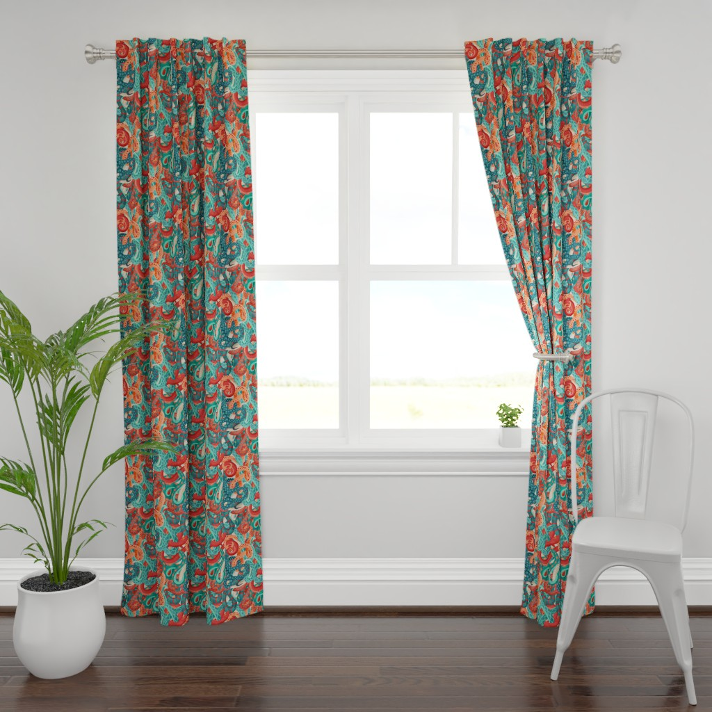 Plymouth Curtain Panel featuring coral serpentine by michaelzindell