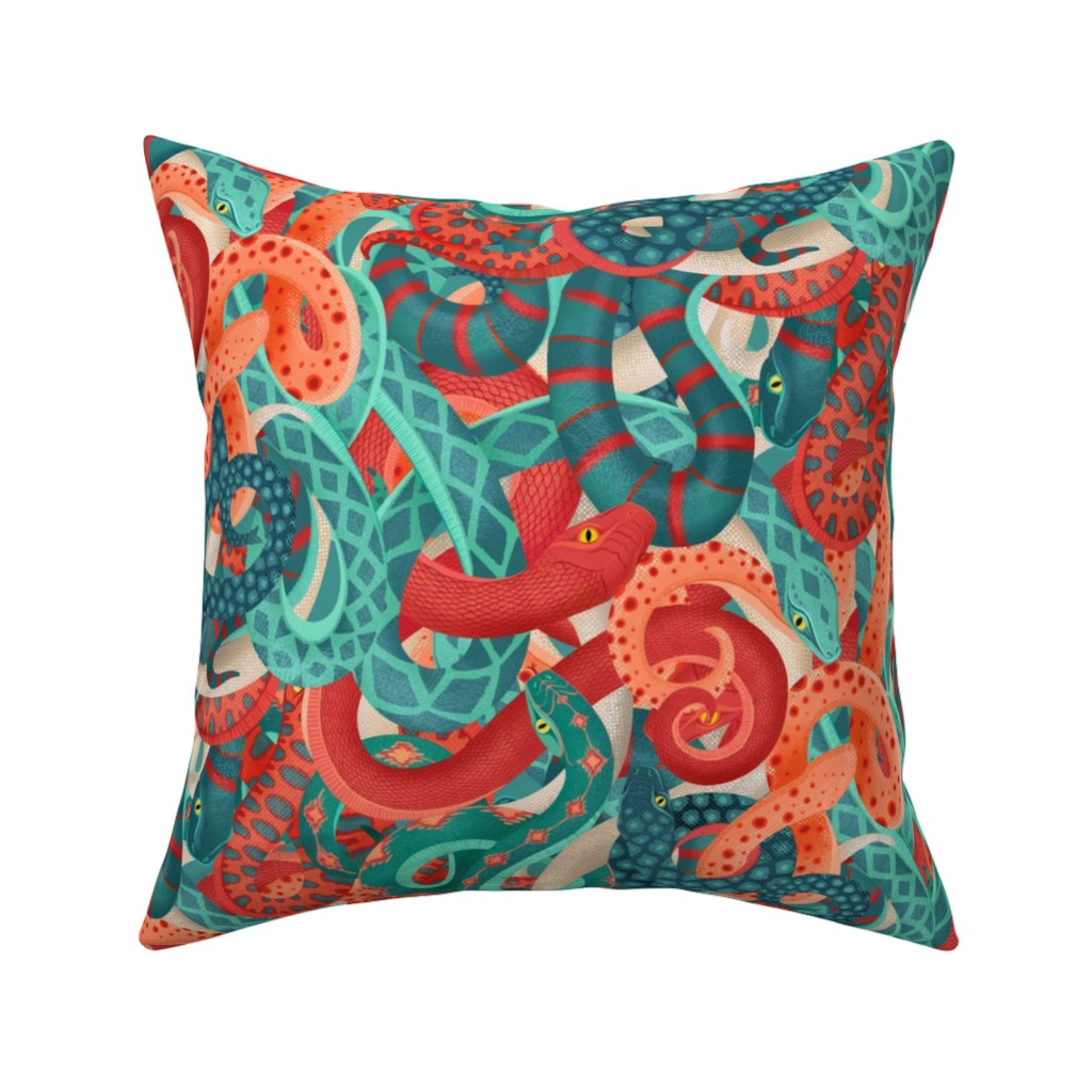 Catalan Throw Pillow featuring coral serpentine by michaelzindell