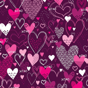 Hearts and Kisses (Dark Pink)