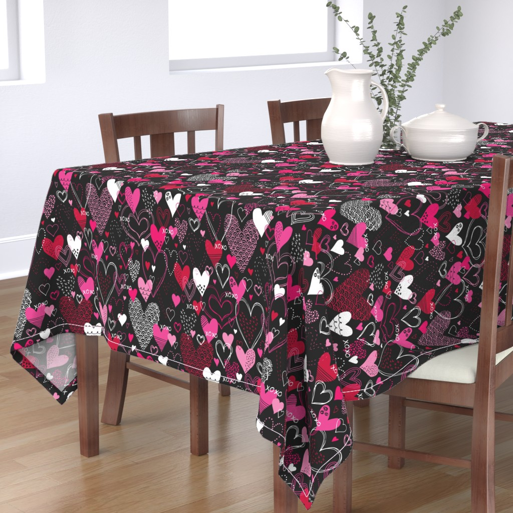 Bantam Rectangular Tablecloth featuring Hearts and Kisses by robyriker