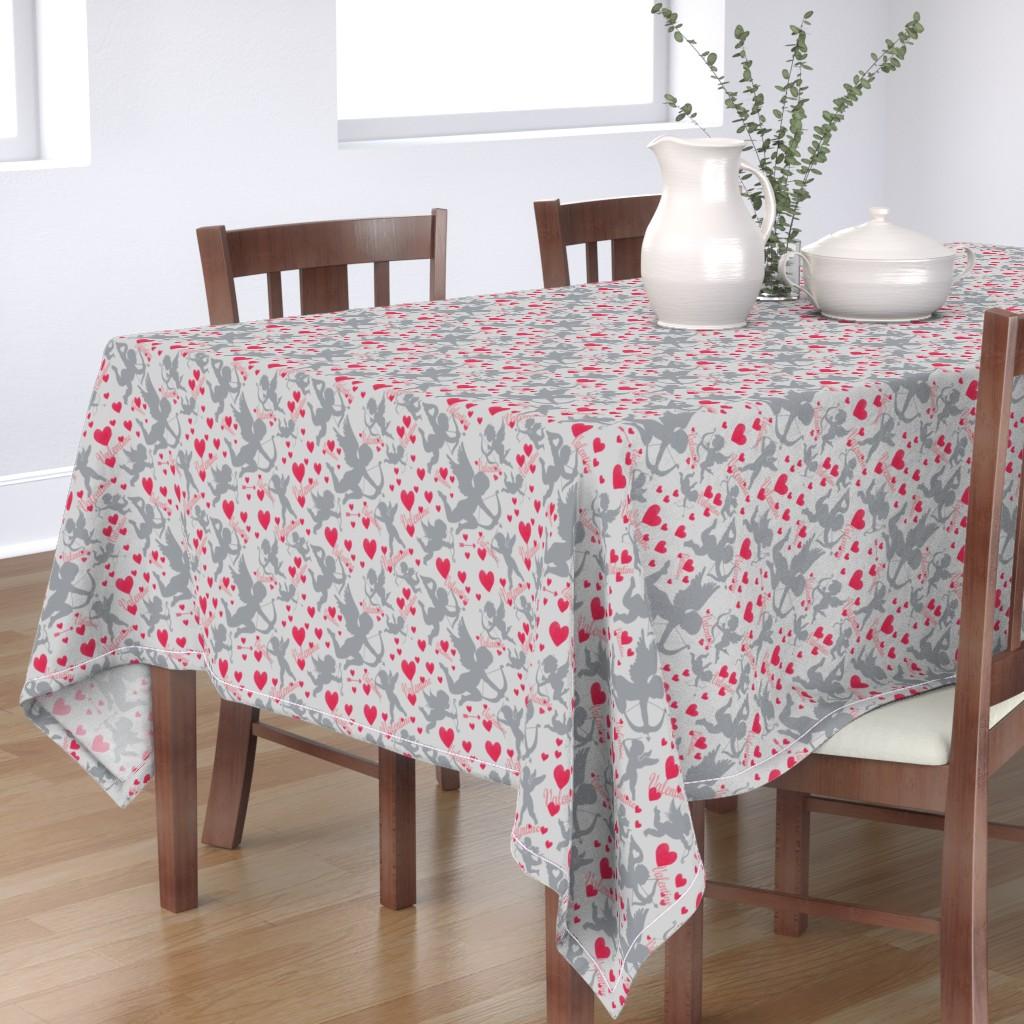 Bantam Rectangular Tablecloth featuring Cupids Red Arrow by artonfabric