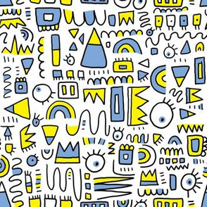 Blue and Yellow Doodle