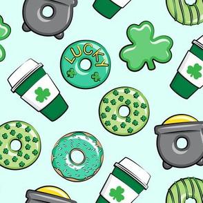 Saint Patricks Day Donuts & Coffee  - green on mint