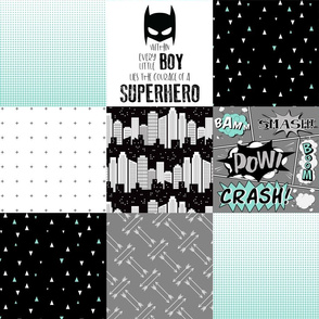 Superhero//Boy//Teal - Wholecloth Cheater Quilt