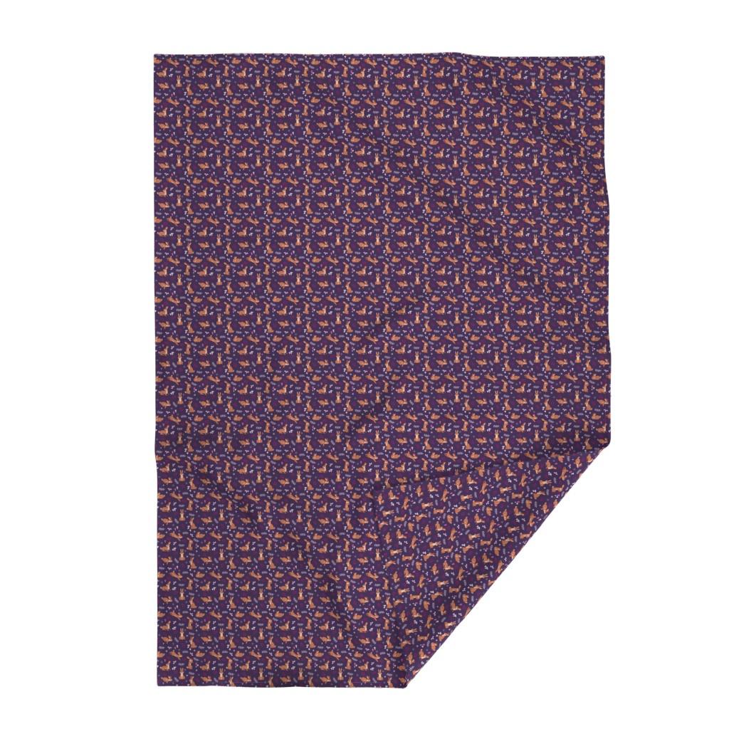 Lakenvelder Throw Blanket featuring Festive Rabbits: Purple by thimblefolio