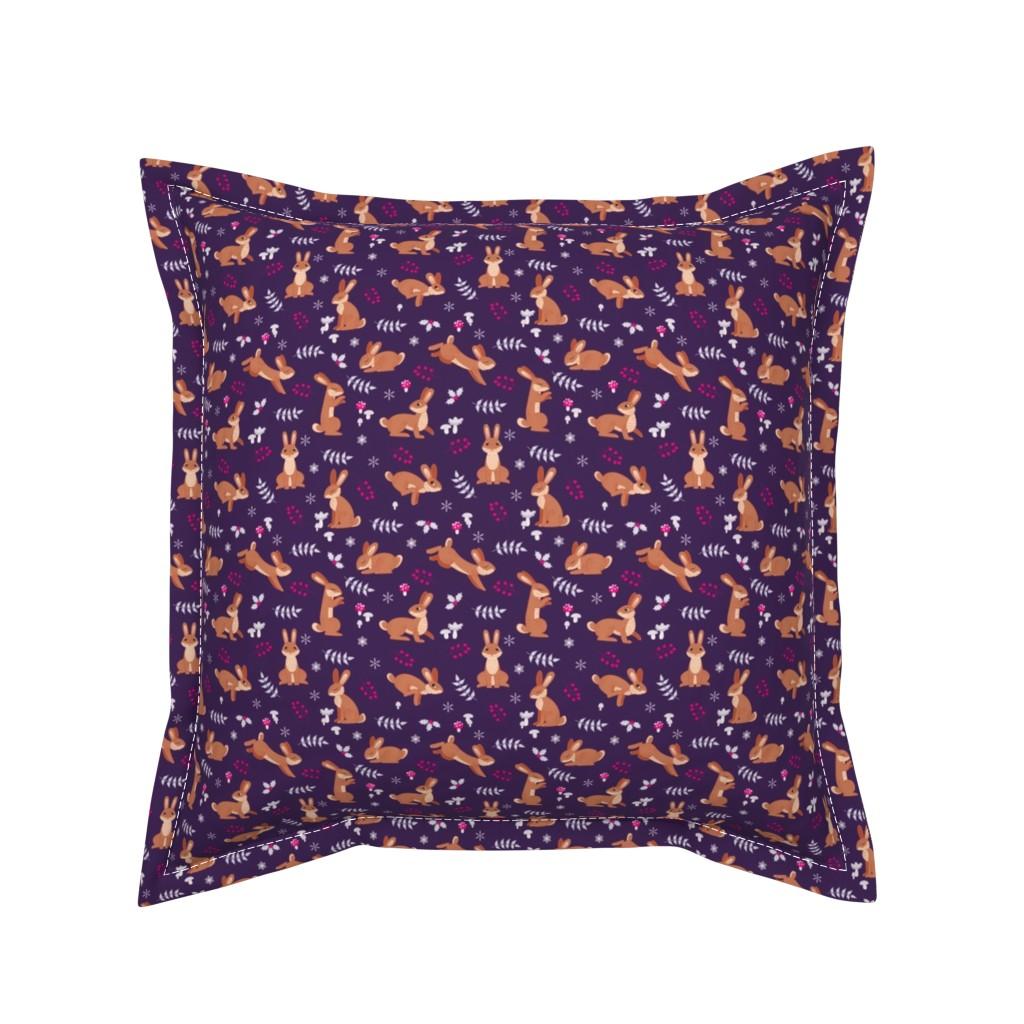 Serama Throw Pillow featuring Festive Rabbits: Purple by thimblefolio