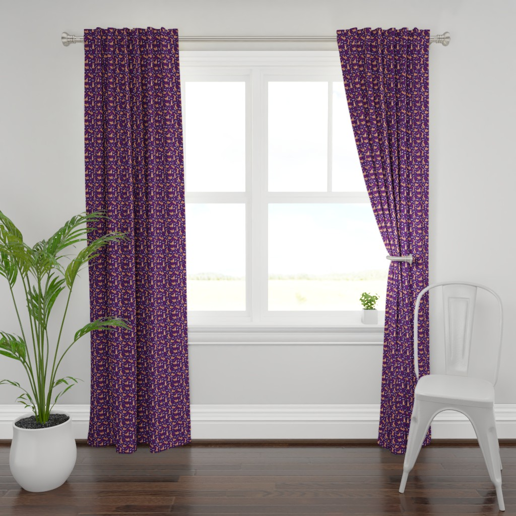 Plymouth Curtain Panel featuring Festive Rabbits: Purple by thimblefolio