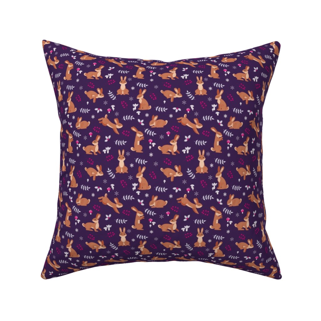 Catalan Throw Pillow featuring Festive Rabbits: Purple by thimblefolio