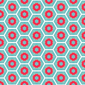 Teal and Red Octagons