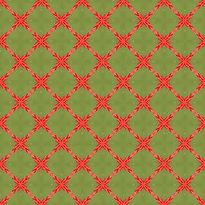 Sage Green and Orange Lattice Pattern