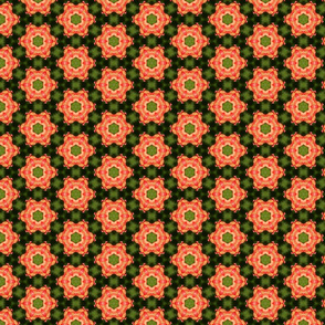 Green and orange floral pattern