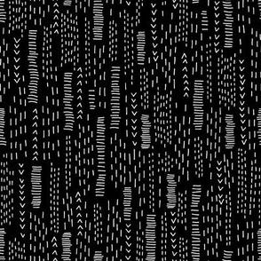 Black and White Boro Embroidery Stripes