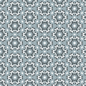 Gray Blue and White Circle Star Pattern