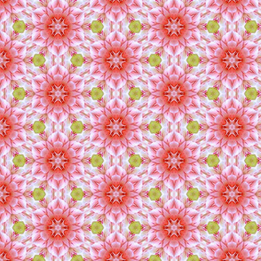 Peppermint Pink and Green Floral Pattern