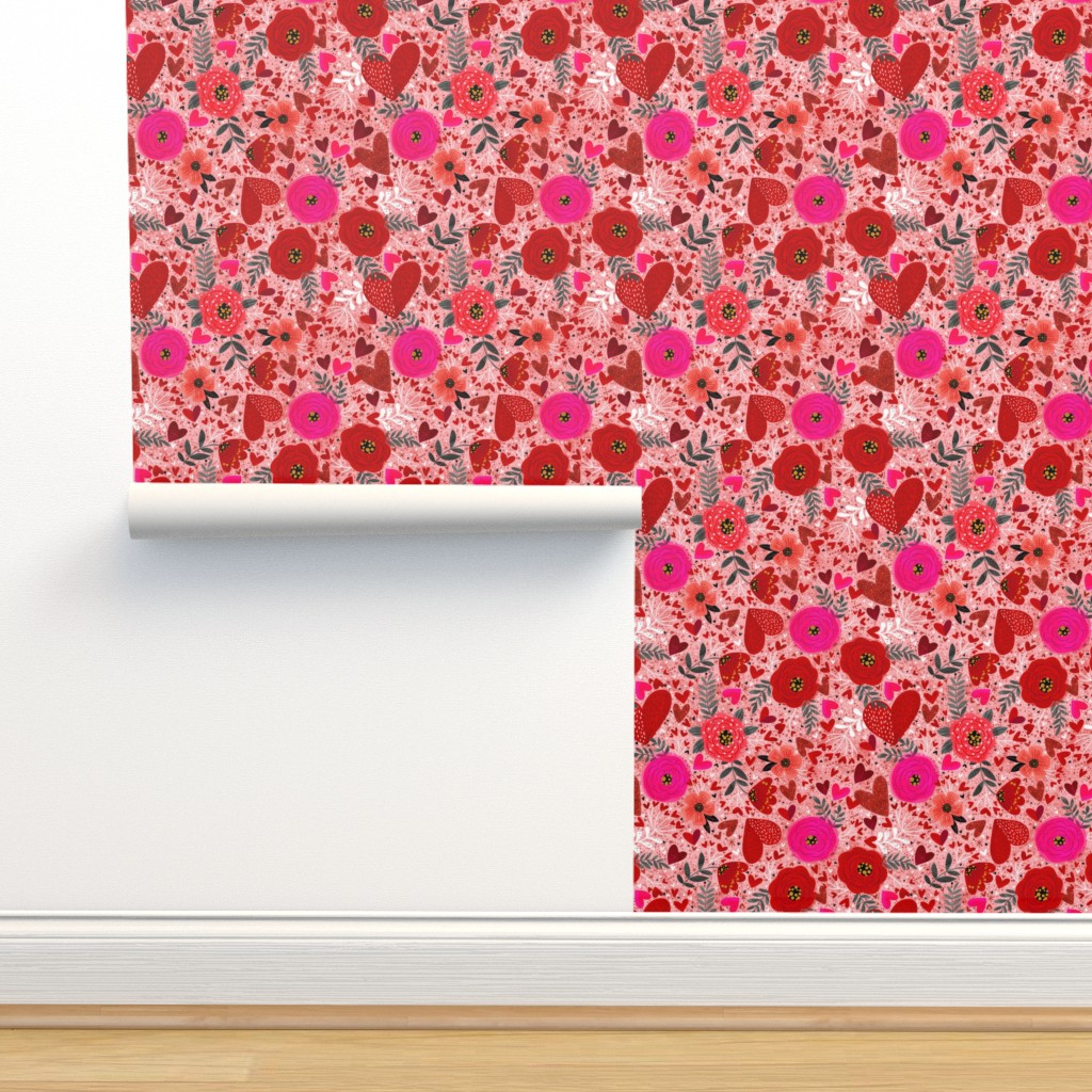 Isobar Durable Wallpaper featuring Hearts n Flowers  by cynthiafrenette