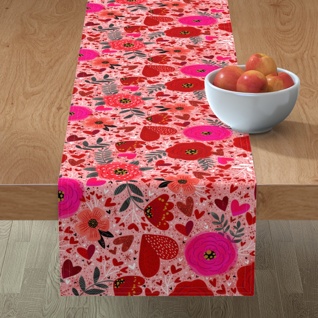 Minorca Table Runner featuring Hearts n Flowers  by cynthiafrenette
