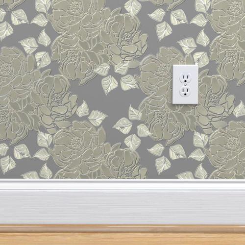 Wallpaper Blossoms Silver Matte Finish