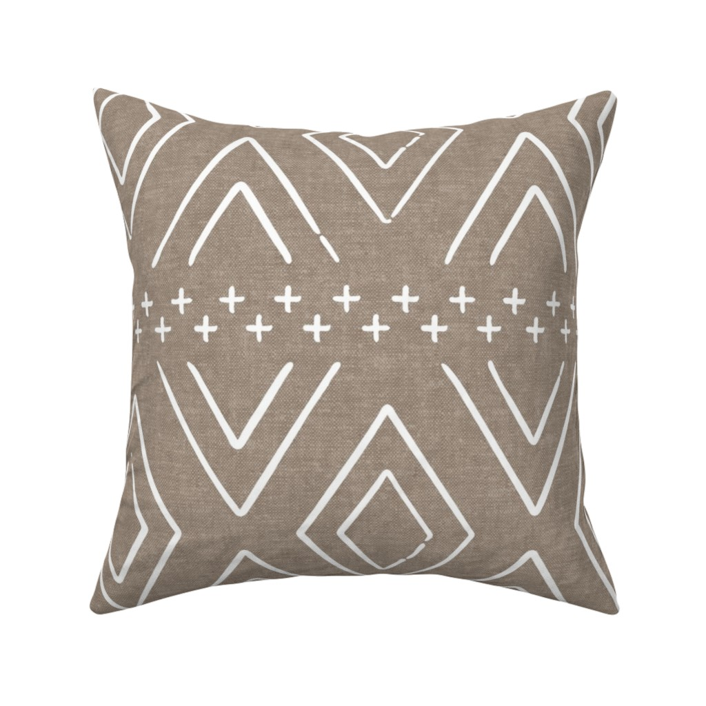 Catalan Throw Pillow featuring Safari Wholecloth Diamonds on brown - farmhouse diamonds - mud cloth fabric by littlearrowdesign