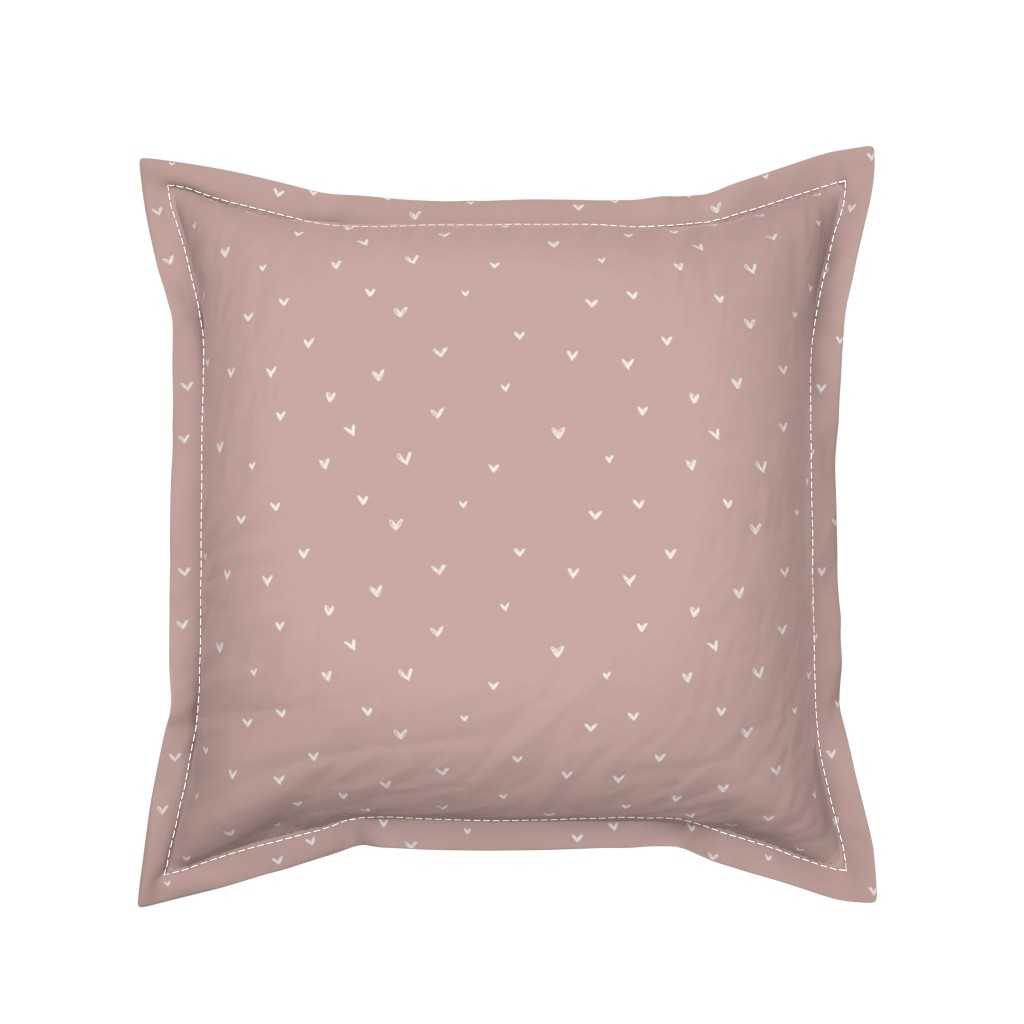 Serama Throw Pillow featuring Freehand hearts || Bone on dusty pink by erin__kendal