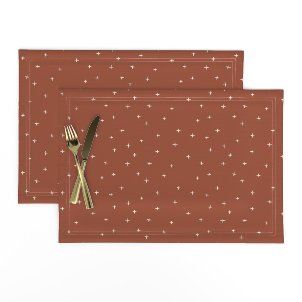 Lamona Cloth Placemats featuring Sketched x swiss crosses // Bone on rust red by erin__kendal