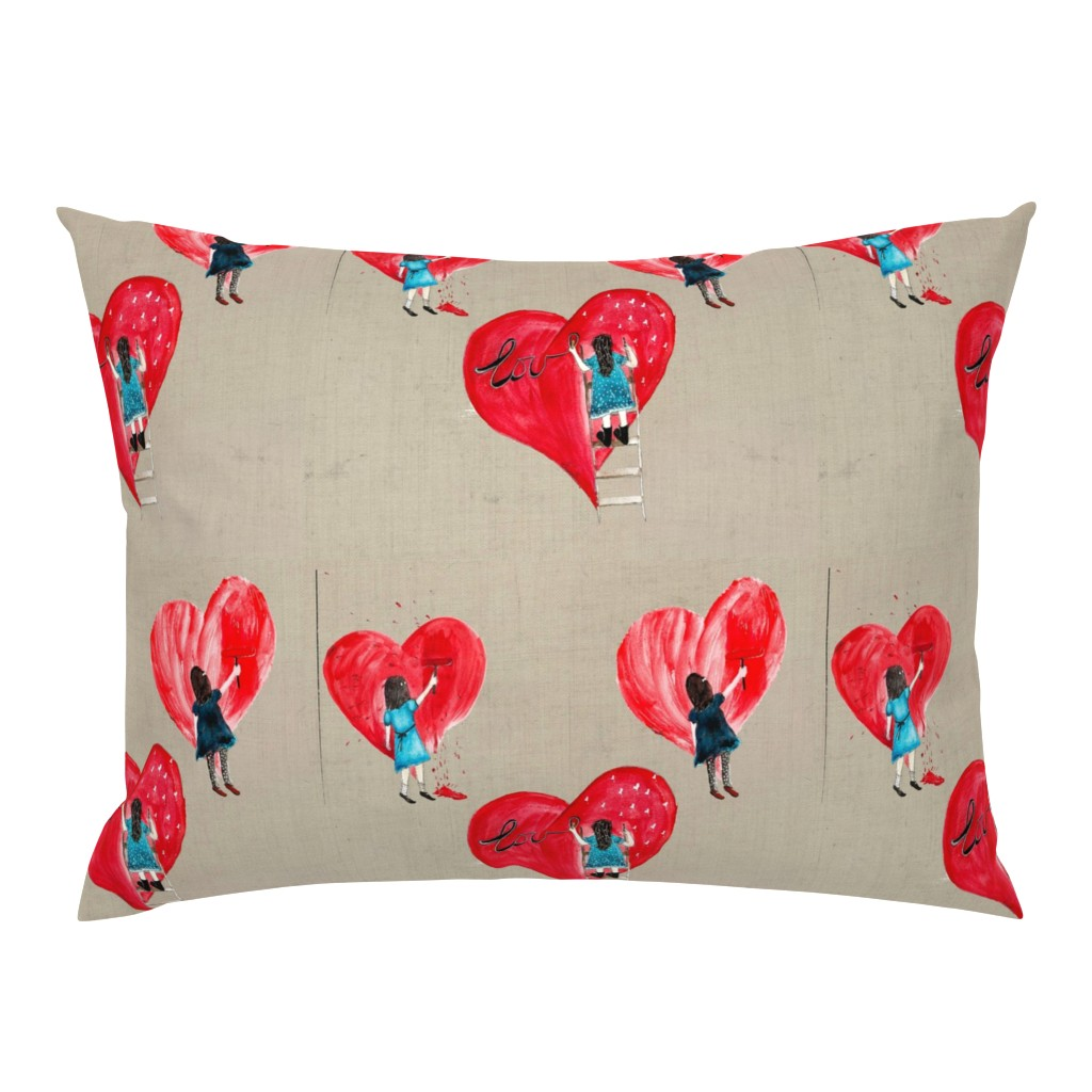Campine Pillow Sham featuring PAINT MY HEART SAND large scale by hunnellekari