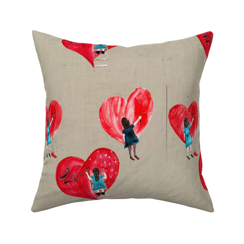 Catalan Throw Pillow featuring PAINT MY HEART SAND large scale by hunnellekari