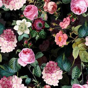 "33""  Pierre-Joseph Redouté Roses,Victorian Moody Florals,black"
