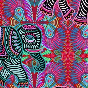 boho elephant walk - red
