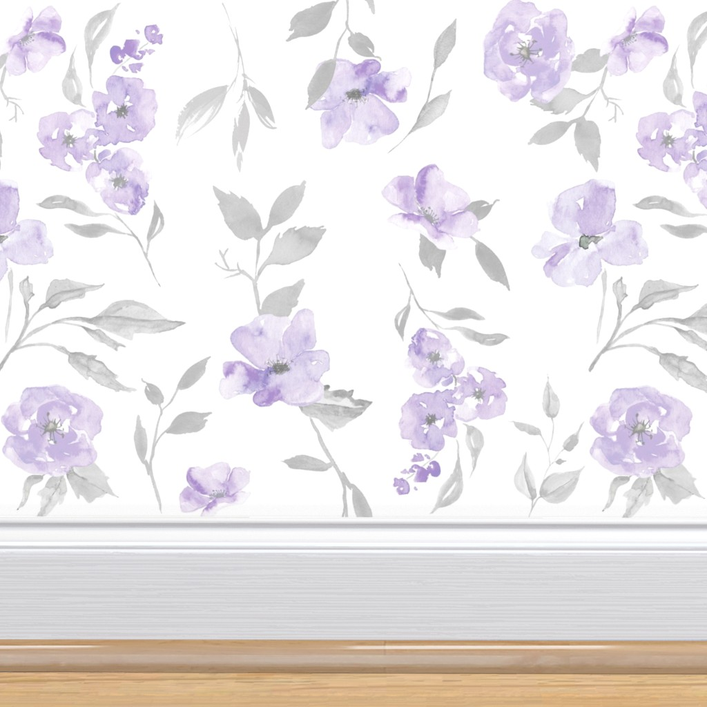 Peel-and-Stick Removable Wallpaper Floral Purple Modern Orchid And Navy Poppy