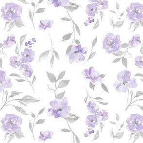 "7"" watercolor poppies - purple/grey"