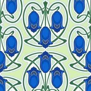 Blue floral Art Nouveau