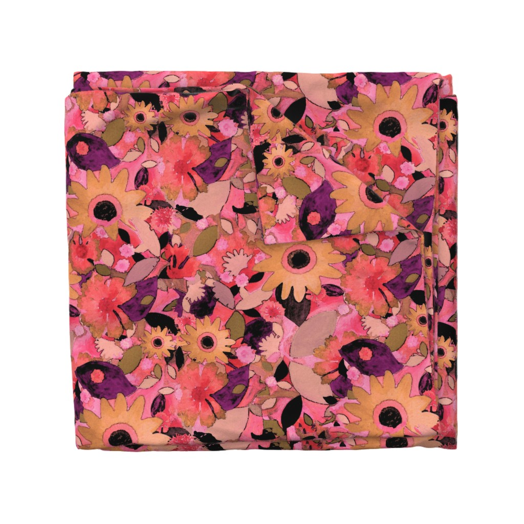 Wyandotte Duvet Cover featuring say it with flowers!   by marigoldpink