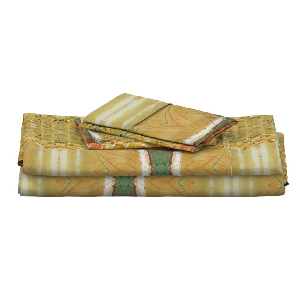 Langshan Full Bed Set featuring Formal Garden Golden (large) by lynda_hoffman-snodgrass_