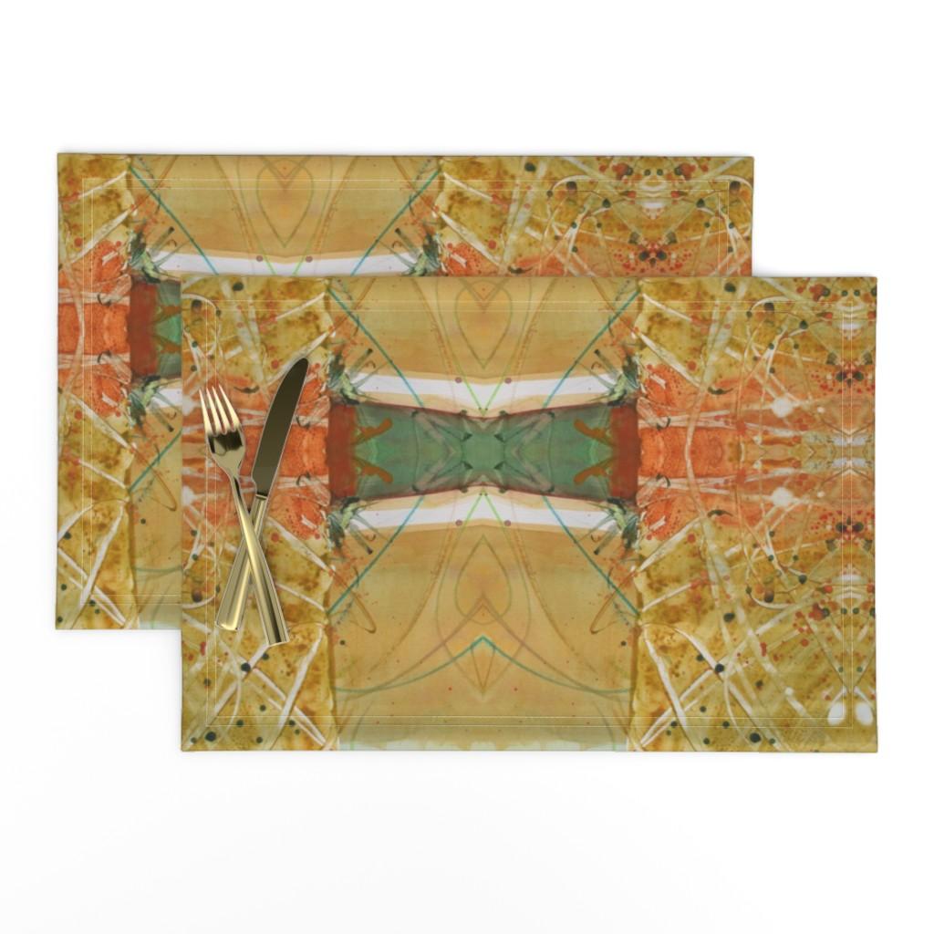 Lamona Cloth Placemats featuring Formal Garden Golden (large) by lynda_hoffman-snodgrass_