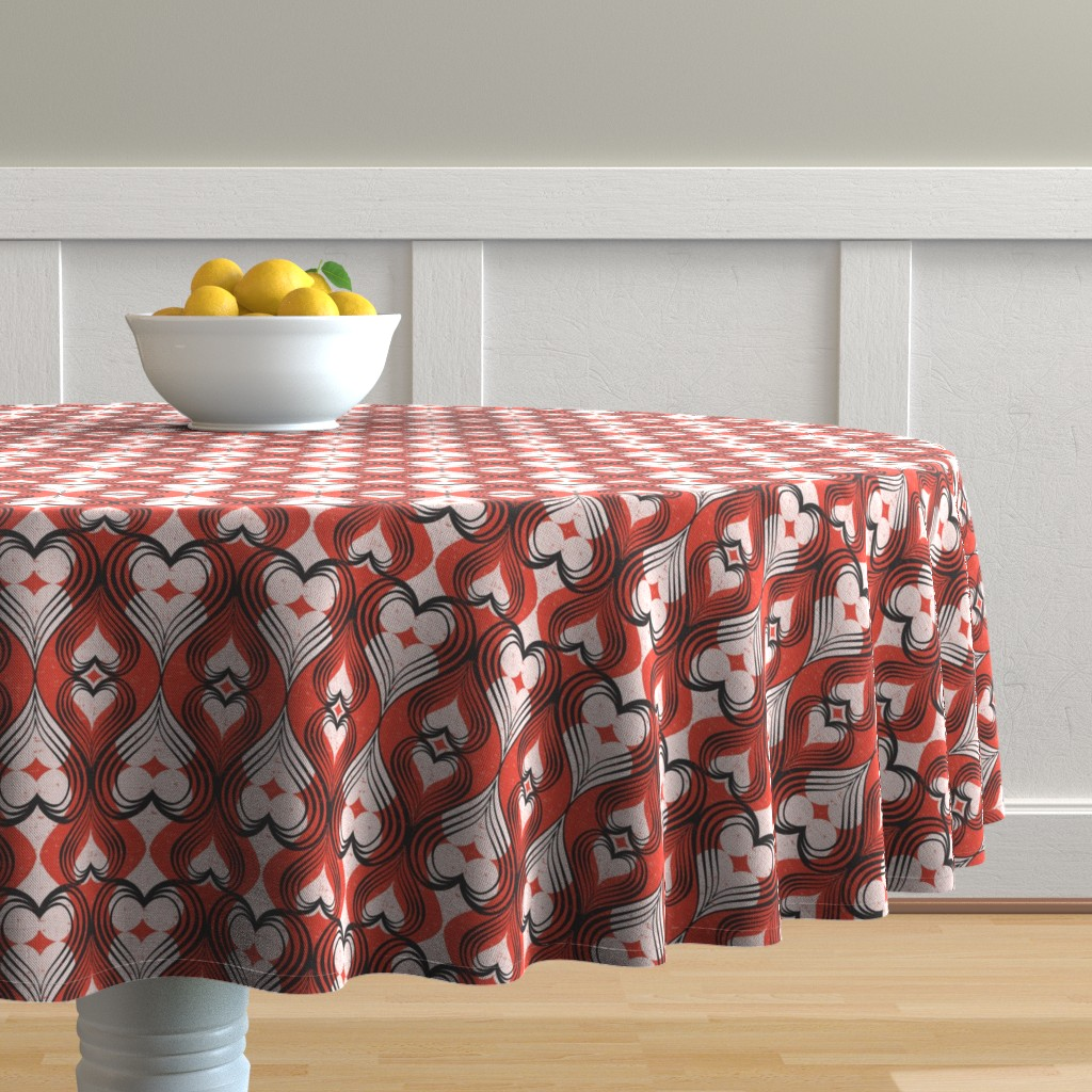 Malay Round Tablecloth featuring Be Still My Heart - Red by heatherdutton