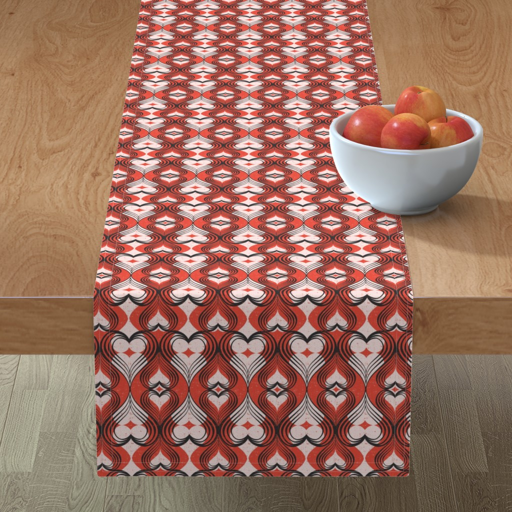 Minorca Table Runner featuring Be Still My Heart - Red by heatherdutton