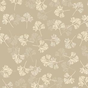Poppy Leaves in Gray & Cream