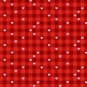Buffalo Plaid Hearts Red