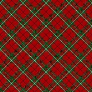 "Cumming / Comyn red tartan, diagonal  2"""