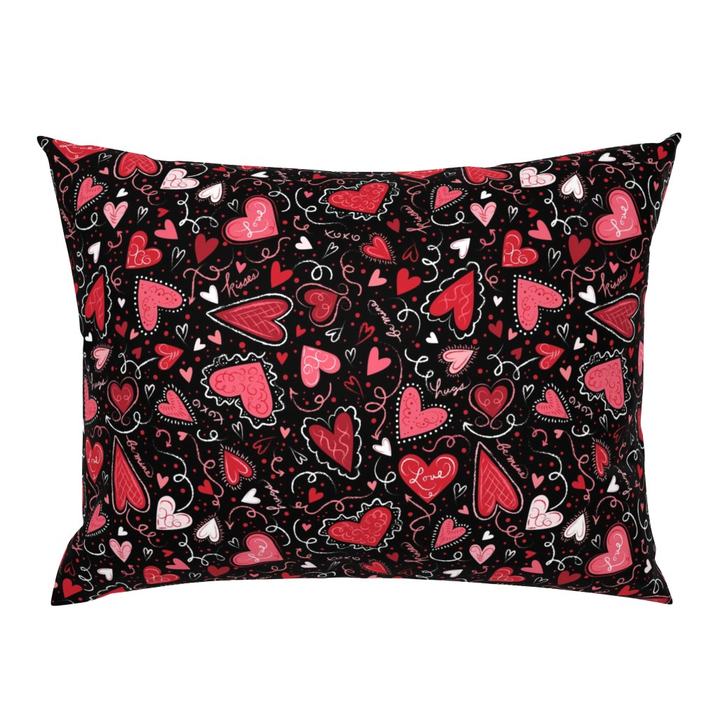 Campine Pillow Sham featuring Love Hearts on Black  by johannaparkerdesign