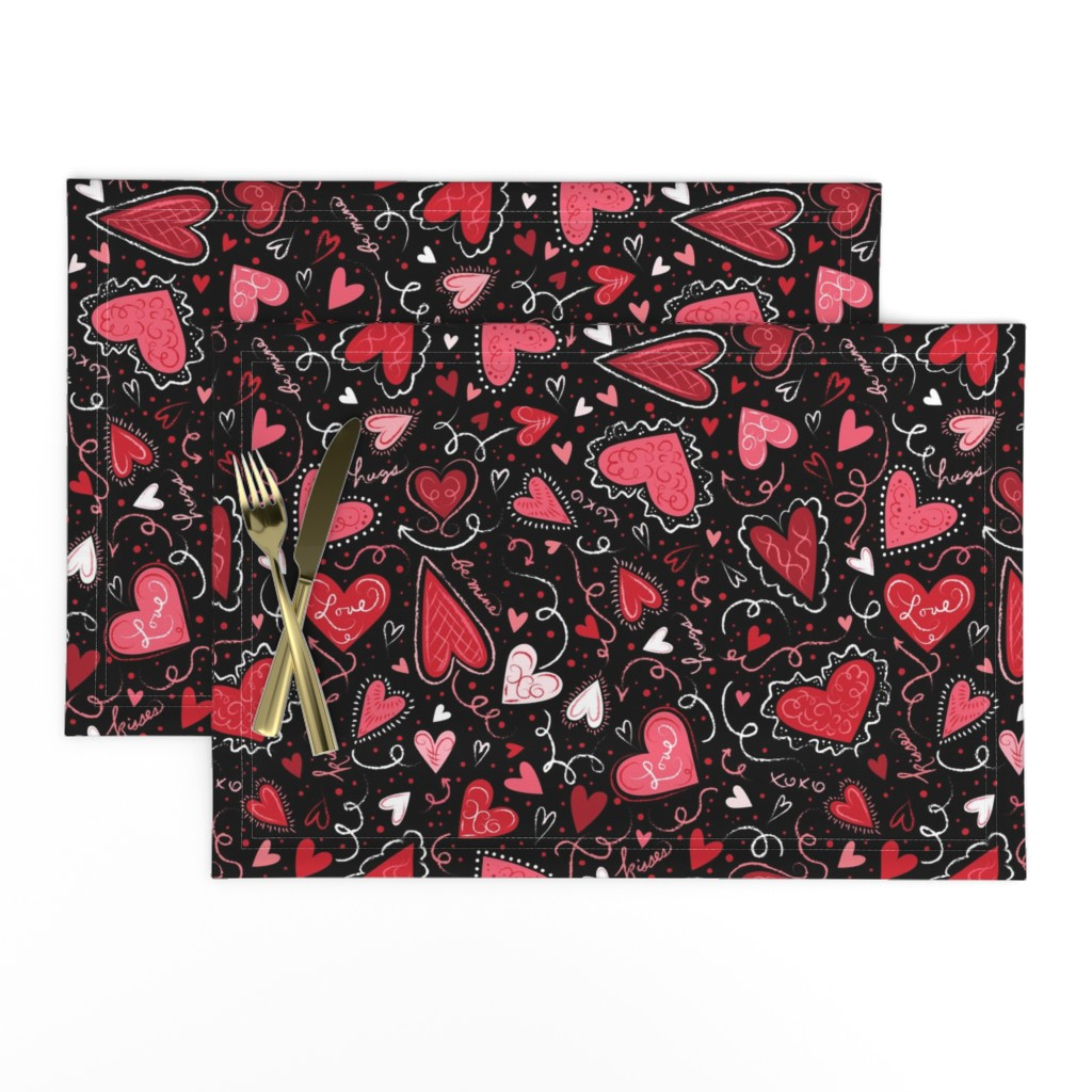 Lamona Cloth Placemats featuring Love Hearts on Black  by johannaparkerdesign