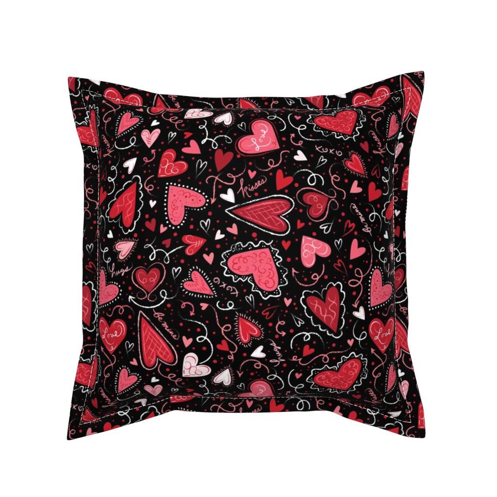 Serama Throw Pillow featuring Love Hearts on Black  by johannaparkerdesign