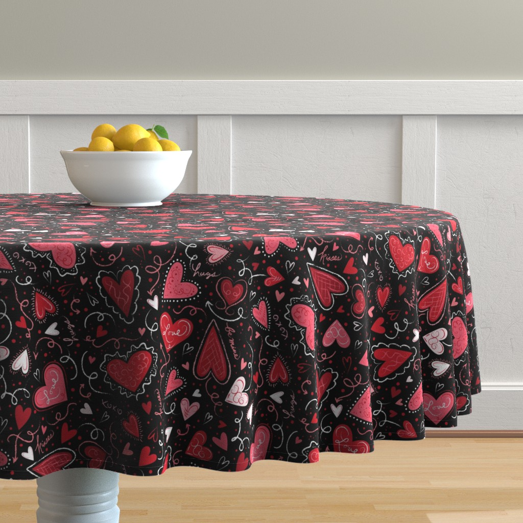 Malay Round Tablecloth featuring Love Hearts on Black  by johannaparkerdesign