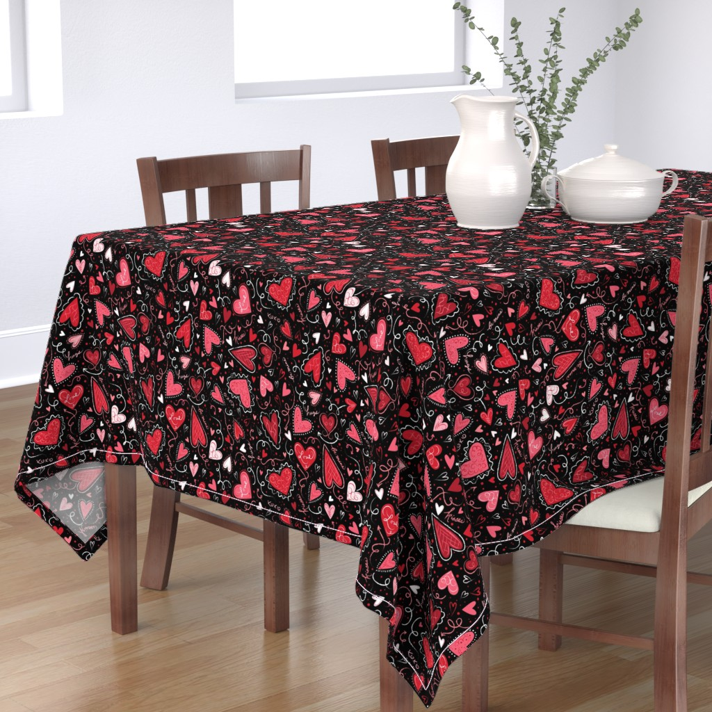 Bantam Rectangular Tablecloth featuring Love Hearts on Black  by johannaparkerdesign