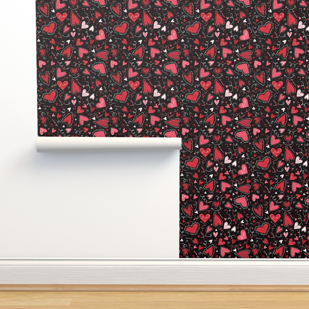 Isobar Durable Wallpaper featuring Love Hearts on Black  by johannaparkerdesign