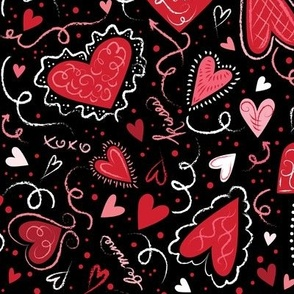 Love Hearts on Black