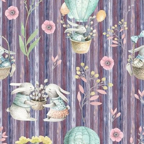 small EASTER BUNNIES ON WOOD PURPLE FLWRHT