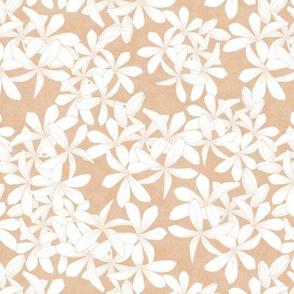Plumerias White on Coquina 750