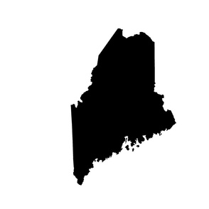 "Maine silhouette - 18"" black on white"