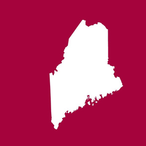 """Maine silhouette - 18"""" white on cranberry red"""